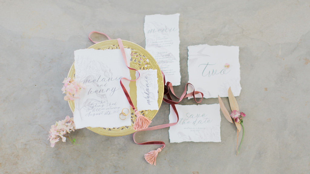 Romantic, soft and elegant wedding stationery design
