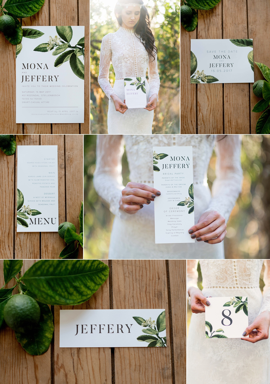 lemon tree inspired stationery and invitation set