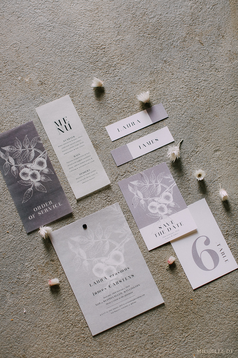Minimalist wedding stationery and invitations with vellum