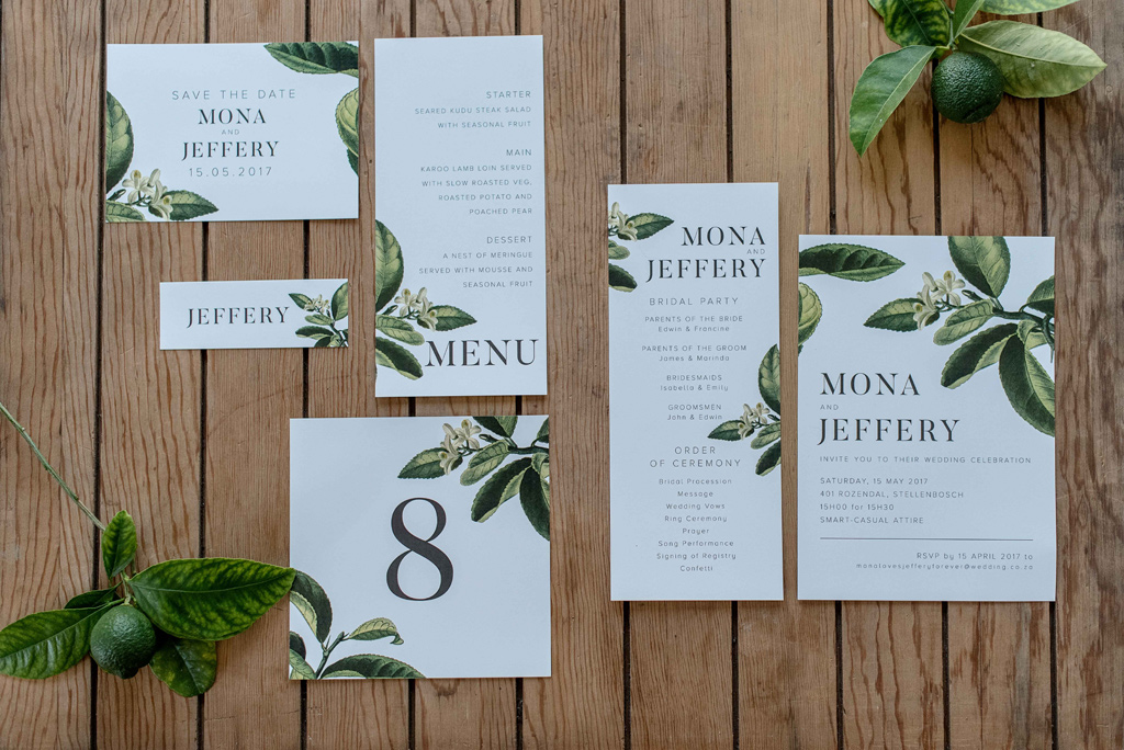 Lemon Tree and leaf stationery design