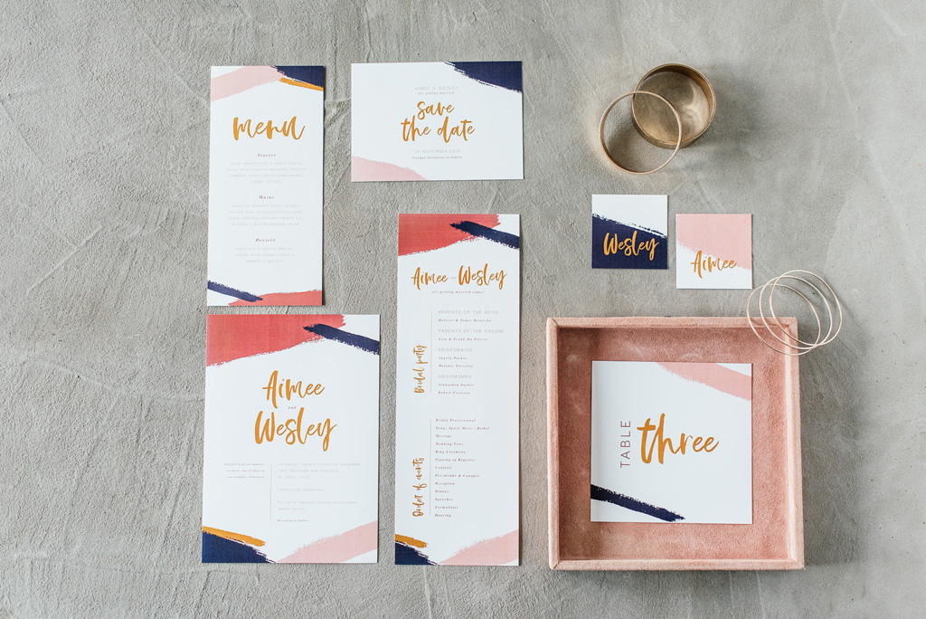 Modern art stationery design with coral dirty blue wedding stationery